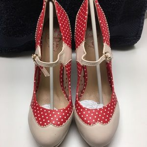 Dancing Days Red and Nude Polka Dot Heels